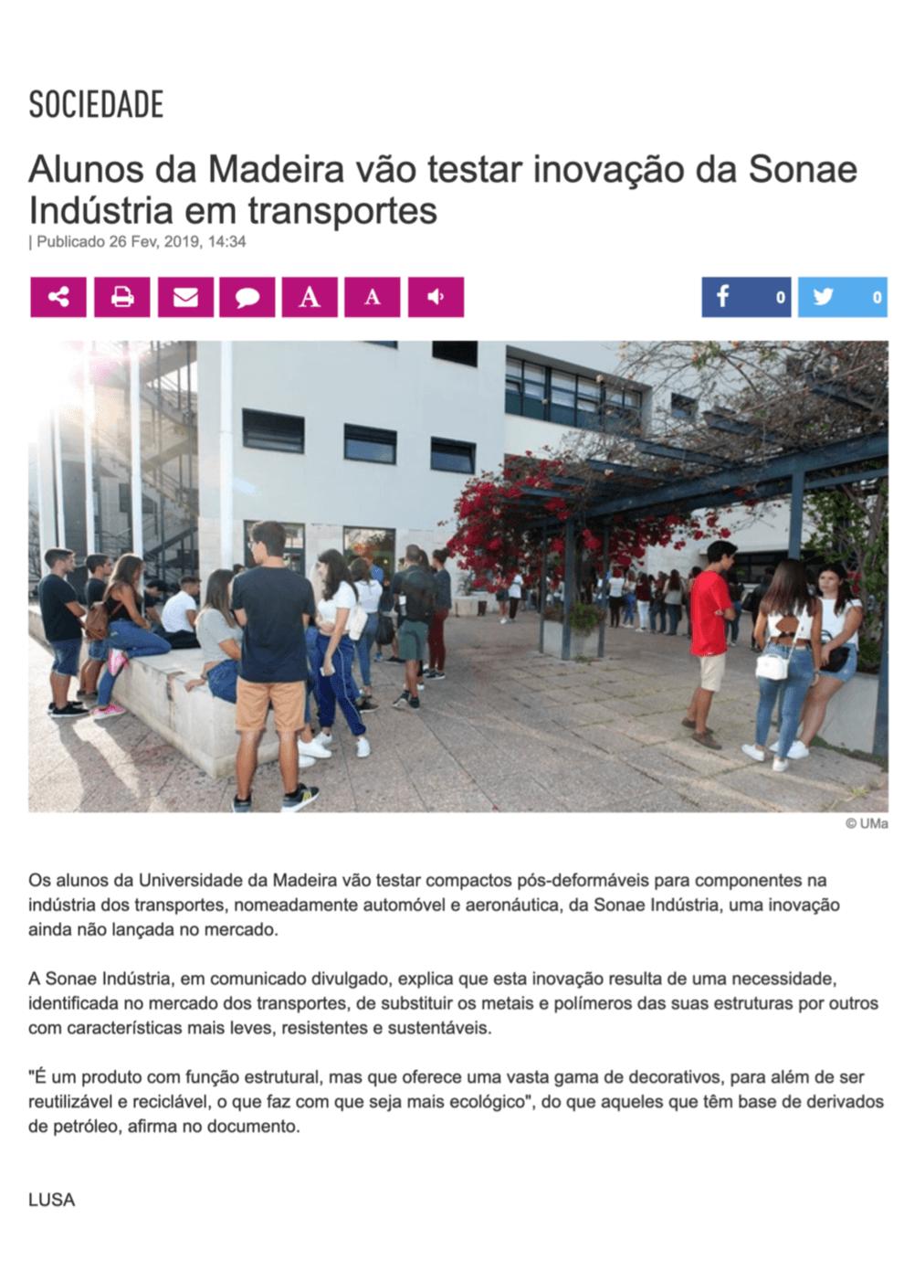 Alunos da Madeira vão testar inovação da Sonae Indústria em transportes