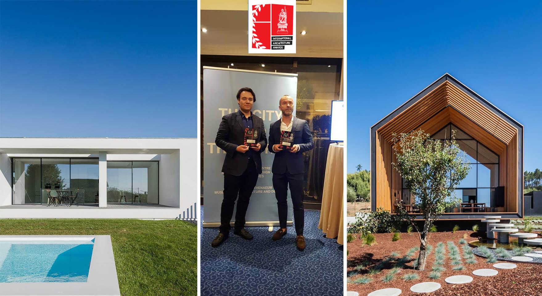 Entrega de prémios aos arquitetos Raulino Silva e Filipe Saraiva na International Architecture Awards de 2018