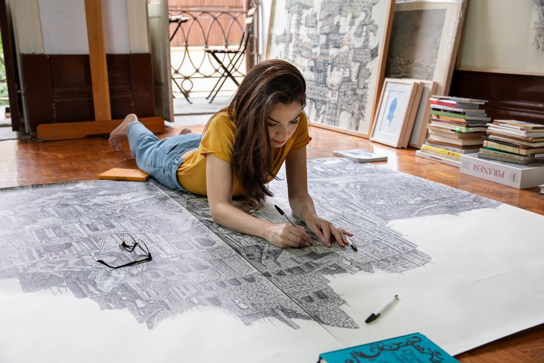 Cidades de papel. A arquiteta que constrói cidades à mão com canetas Bic