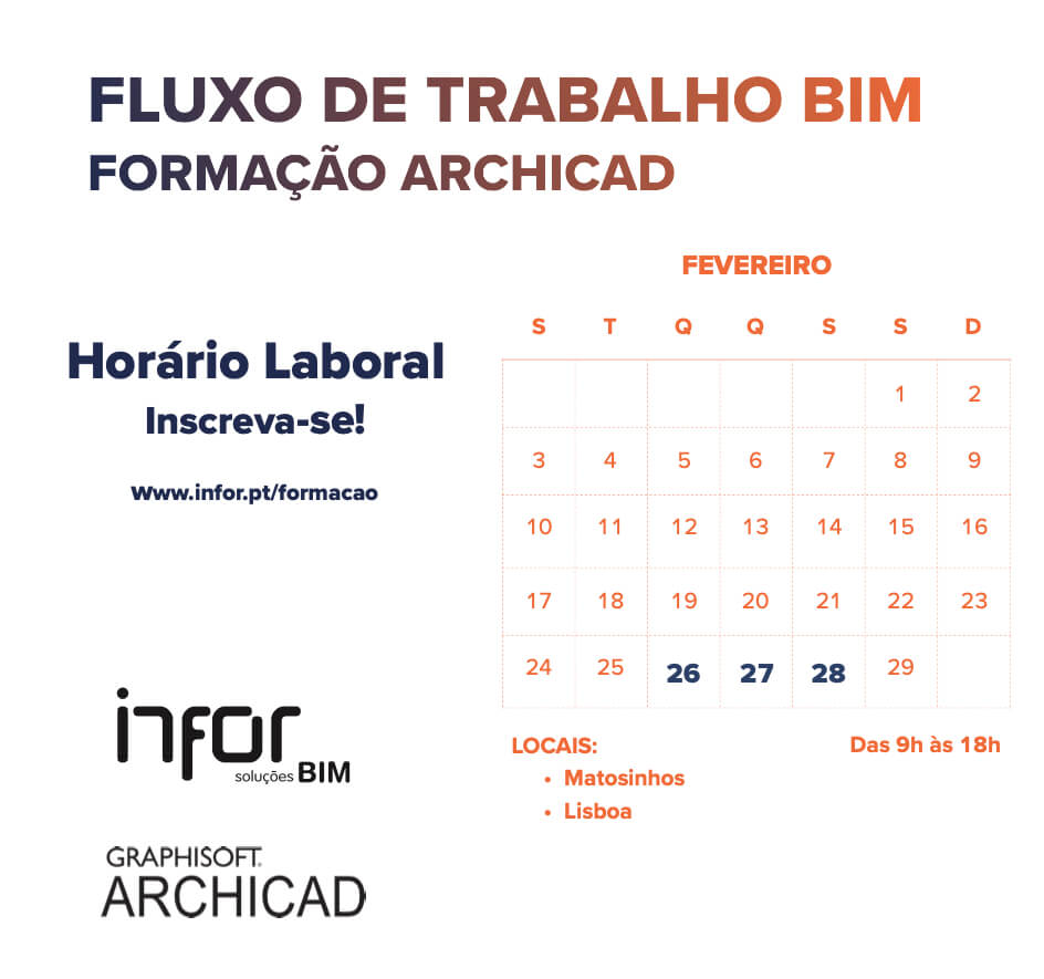 PORTO E LISBOA | Formação ARCHICAD Fluxo de Trabalho BIM dia 26, 27 e 28 de Fevereiro