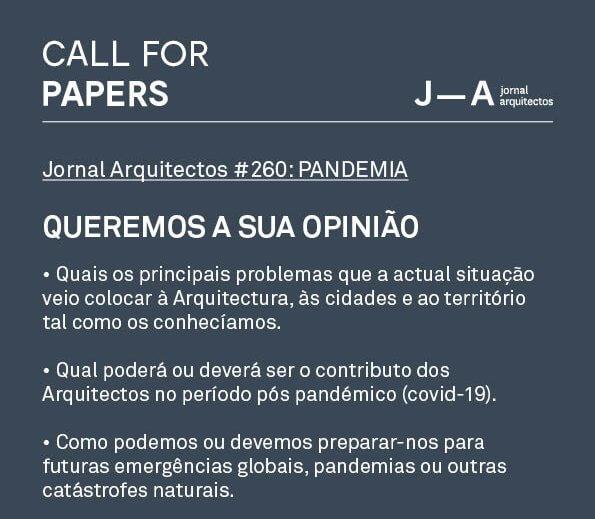 CALL: Jornal Arquitectos #260: PANDEMIA