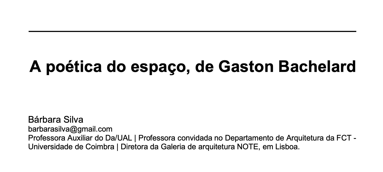 A poética do espaço, de Gaston Bachelard