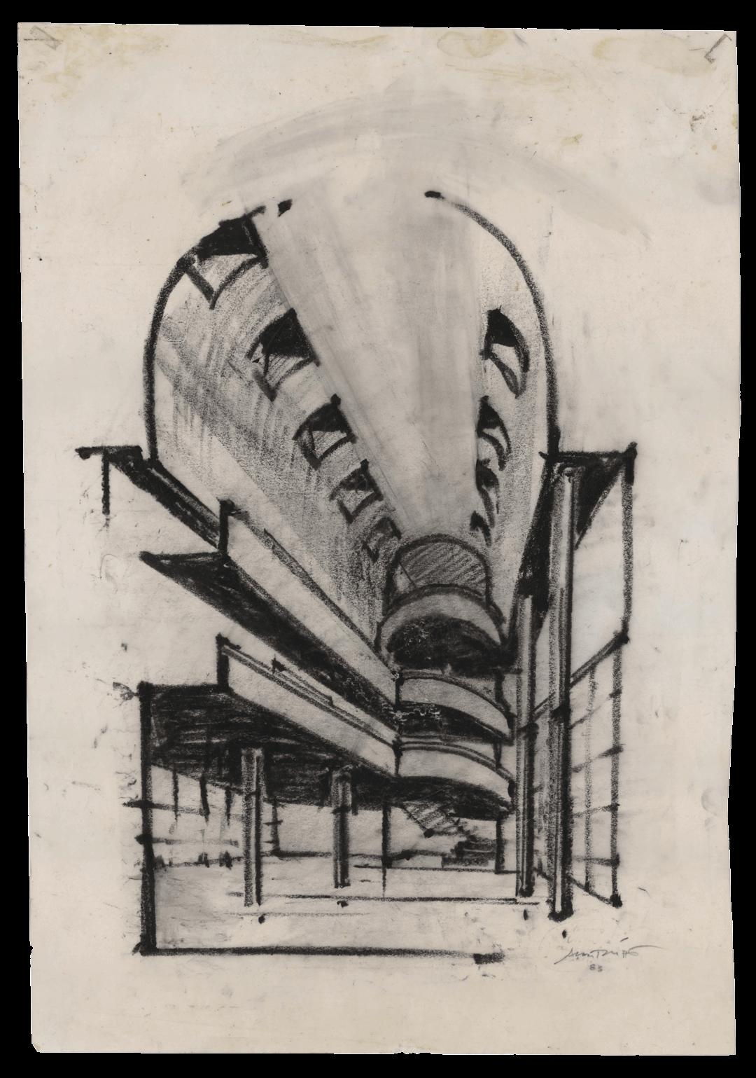 Alcino Soutinho, esquisso do projeto da Câmara Municipal de Matosinhos, 1983
