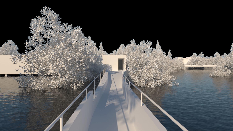 O espaço urbano e as dinâmicas de um rio: o caso da vila Caldas das Taipas_Render_proposta-axonometria balnearios_Simão Lima