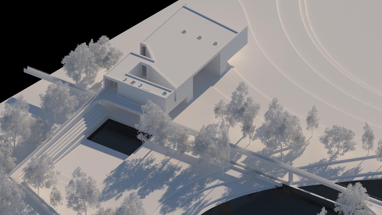 O espaço urbano e as dinâmicas de um rio: o caso da vila Caldas das Taipas_Render_proposta-axonometria biblioteca_Simão Lima