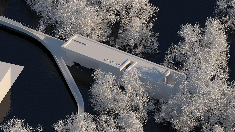 O espaço urbano e as dinâmicas de um rio: o caso da vila Caldas das Taipas_Render_proposta-axonometria cafetaria_Simão Lima