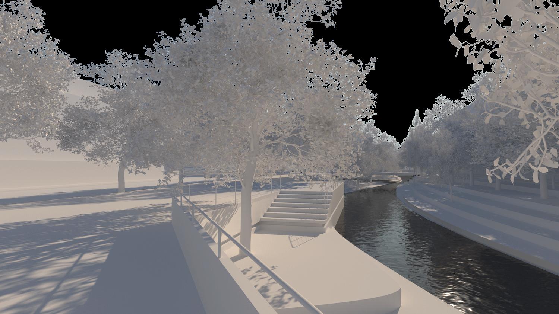 O espaço urbano e as dinâmicas de um rio: o caso da vila Caldas das Taipas_Render_proposta-espaço público_Simão Lima