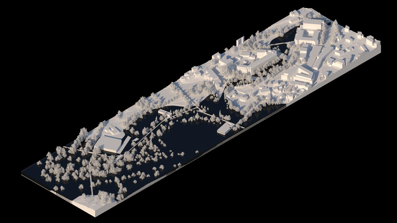 O espaço urbano e as dinâmicas de um rio: o caso da vila Caldas das Taipas_Render_proposta-inundacao_Simão Lima