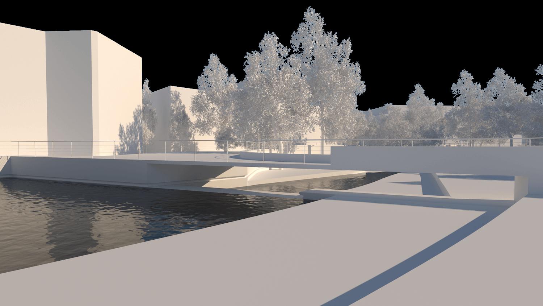 O espaço urbano e as dinâmicas de um rio: o caso da vila Caldas das Taipas_Render_proposta-ponte_Simão Lima