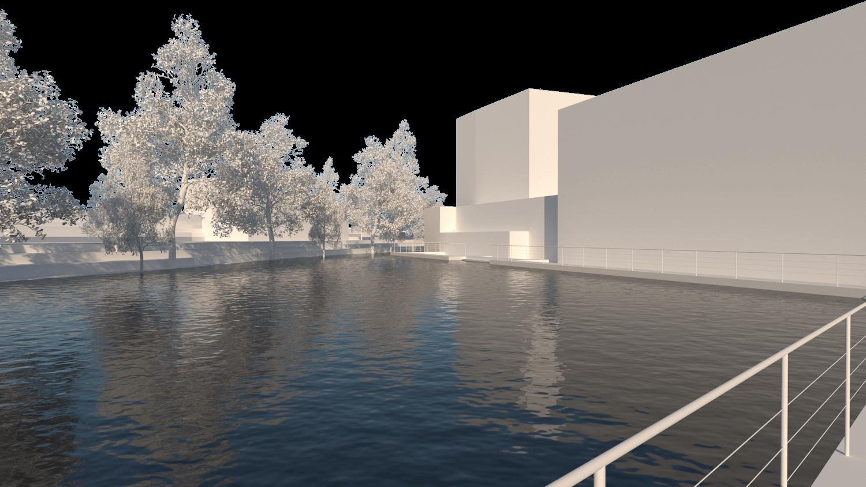 O espaço urbano e as dinâmicas de um rio: o caso da vila Caldas das Taipas_Render_proposta_Simão Lima