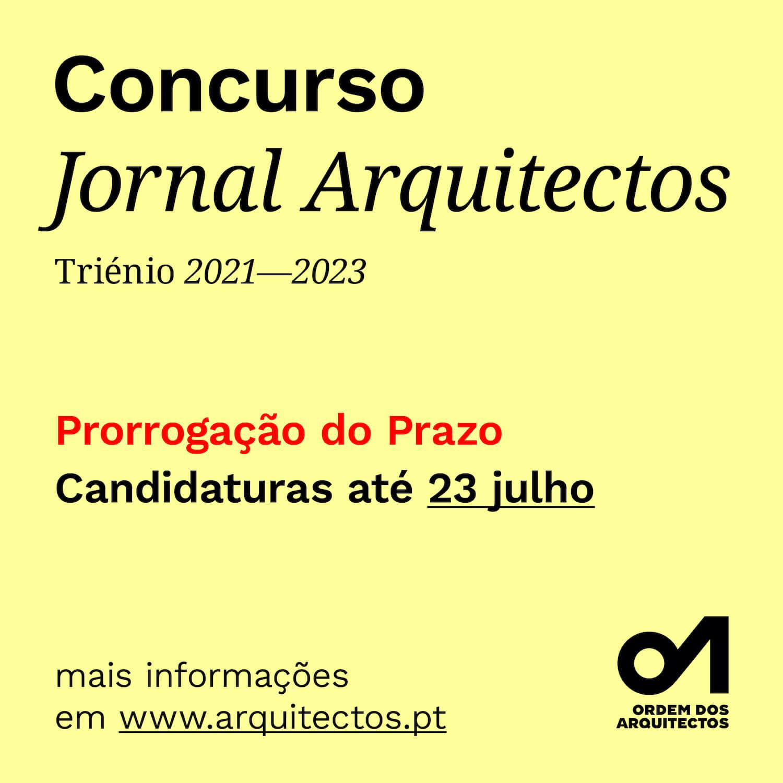 Concurso Jornal Arquitectos para o triénio 2021 – 2023